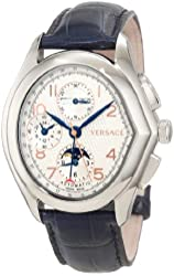 """Versace Men's 20A99D001 S282 V-""""Master"""" Stainless Steel Automatic Watch with Leather Band"""
