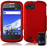 ZTE VALET Z665C SOLID RED RUBBERIZED COVER SNAP ON HARD CASE + FREE SCREEN PROTECTOR from [ACCESSORY ARENA]