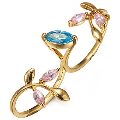 Fappac Gold Tone Multiple Colors Marquise Cubic Zirconia Two Finger Leaf Statement Ring - 7 (Two Finger Rings For Teen Girls compare prices)
