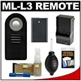 Vivitar ML-L3 Wireless Shutter Release Remote Control with EN-EL14 Battery & Charger + Cleaning Kit for Nikon Coolpix P7100, P7700 & D3200, D5100 Digital SLR Cameras
