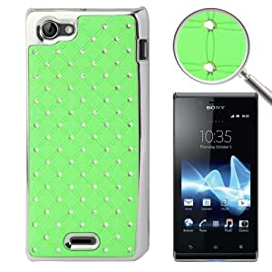 Crazy4Gadget Luxury Bling Diamond Plating Skinning Plastic Case for Sony Xperia J / ST26i (Green)