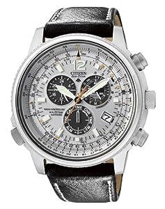 Citizen Promaster AS4020-44H - Reloj cronógrafo de cuarzo para hombre, correa de cuero color negro