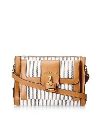 London Fog Women's Lark Cross-Body, White Woven Multi As You See