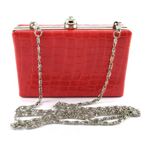 Ecosco Candy Concise Lady Clutch Pu Tote Evening Handbag W/ Shoulder Strap (Red)