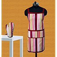 Dekor World Maroon Stripe Apron Glove Set