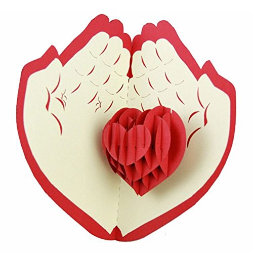 Kk 100 Handmade 3D Pop Up Customized Greeting Card Happy Birthday Wedding Anniversary Merry Christmas Best Wish Thank You Good Luck Thanksgiving Friendship Father's Day Valentine's Day (My Heart) (Target Gift Card $10 compare prices)
