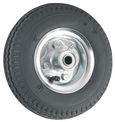 Waxman 4143055 8 Inch Pneumatic Rubber Wheel, Black Tire And Chrome Wheel front-126227