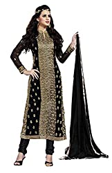 Blissta Black Georgette Unstitched Embroidered Dress Material