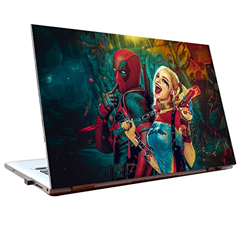 JunkYard Laptop Skins 15.6 inch Deadpool Harley Quinn HD Quality Dell Lenovo H...
