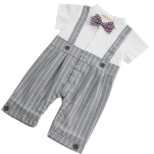 YiZYiF Baby Boys Romper Bodysuit Infant Bowtie 2 Pieces Set Outfits 12-18 Months