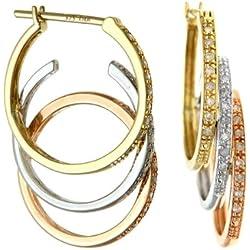 Naava Damen-Creolen dreifarbige Gold besetzte dreifach Schlaufen Tropfen Ohrringe 375 Tricolor teilrhodiniert Diamant (0.20 ct) weiß Rundschliff - PE03257 3Col
