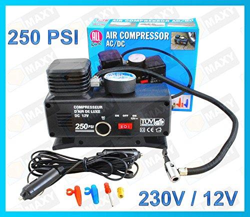 KOMPRESSOR LUFTKOMPRESSOR 12V 250 PSI 18 Bar 4 Ventil-Adapter Autokompressor #358