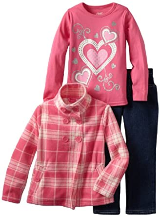 Young Hearts Girls 2-6X 3 Piece Plaid Micro Polar Fleece Jacket Set, Dark Pink, 5