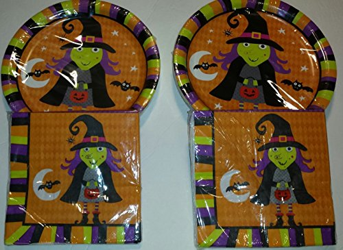 Halloween Party Witch Design Plates (36) and Napkins (36) (Halloween Party Designs)