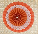 PrettyurParty Orange Rosette Paper Fans with Doillies - Small