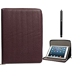 DMG Zippered Portfolio Cover Stand Case with Accessory Pockets for Nxi Ffe7 (Brown) + Capacitive Touch Screen Stylus