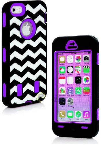 Mylife (Tm) Purple + Black Zig Zag Style 3 Layer (Hybrid Flex Gel) Grip Case For New Apple Iphone 5C Touch Phone (External 2 Piece Full Body Defender Armor Rubberized Shell + Internal Gel Fit Silicone Flex Protector + Lifetime Waranty + Sealed Inside Myli