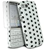 For Nokia C3-01 White Polka Dots Hard Case Cover+2 X Screen Film - PART OF JJONLINESTORE ACCESSORIES