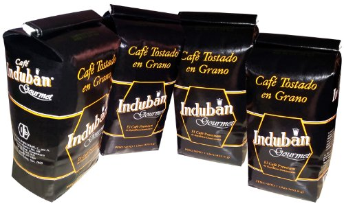Induban Gourmet Whole Roasted Bean Dominican Coffee 4 Bags / Pounds Pack