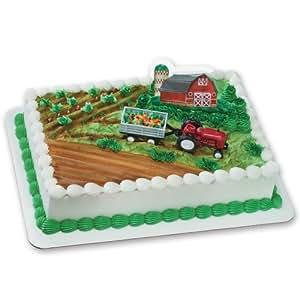 Cake Decoration Toys : Amazon.com: Farm Tractor and Trailer Decoset Cake ...