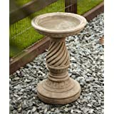 Garden Bird Bath Feeder - Spiral Design Stone Birdbath