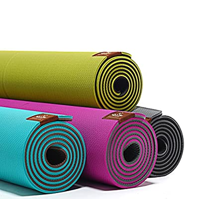 "Heathyoga TPE YOGA MAT: Eco-Friendly, Non-Slip ,Widen&Lengthen Size : 26""(65cm) x 71""(181cm),Thickness:7mm. Guide the Auxiliary Line Design, Great for Beginners and Advanced Yogis,SGS tested."