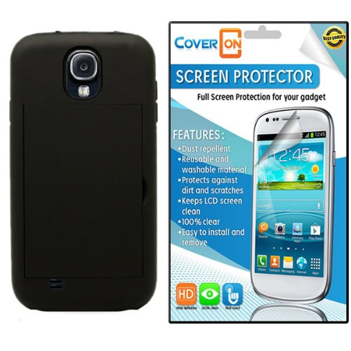 Coveron® Samsung Galaxy S4 Iv Hybrid Dual Layer With Credit Card Holder Slot Case Cover Bundle With Clear Anti-Glare Lcd Screen Protector - Black Hard Black Soft Silicone