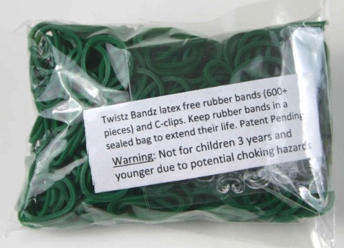 Twistz Bandz Latex Free Rubber Band Bag + C-clips - Dark Green