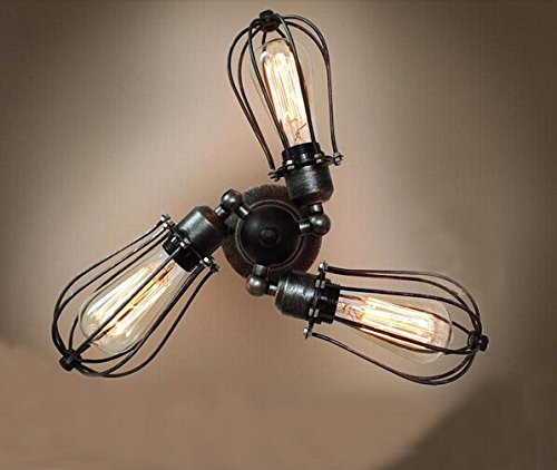 Unitary™ Vintage Metal Rotatable Flush Mount Light Max 180W With 3 Lights Black And Sliver Finish