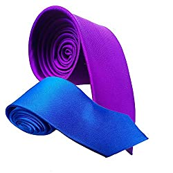 WSD men's narrow royal blue and red micro fiber tie pack of two (ROYAL BLUE AND PURPLE)