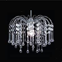 Chrome Frame Teardrop Pendant Ceiling Light Shade with Clear Acrylic Crystal Pear Hanging Droplets