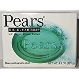 Pears Oil-Clear, Bar Soap, with Lemon Flower Extract, Dermatologist Tested, 4.4 Oz (Pack of 12)