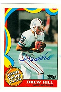 Drew Hill autographed Football Card (Houston Oilers) 1989 Topps 1000 Yard Club #11