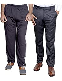 Indistar Mens Formal Trousers With Men's Premium Cotton Lower (Length Size -38) With 1 Zipper Pocket And 1 Open Pocket (Pack Of -1 Lower With 1 Trouser) - B01GEIP8C6