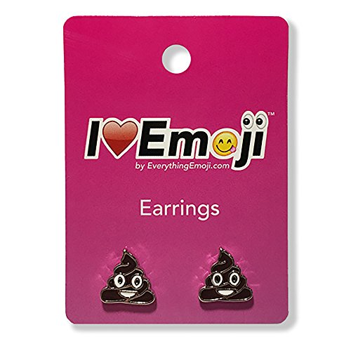 Everything Emoji | Brown Poo Silver Stud Earrings | Cute Emoticon Jewelry | Gifts & Accessories