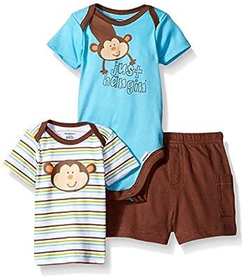 Gerber Baby Boys' Three-Piece Bodysuit, Lap-Shoulder Shirt, and Short Set