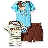 Gerber Baby Three-piece Bodysuit Lap-shoulder Shirt and Short Set, Monkey/Exclusive, 18 Months