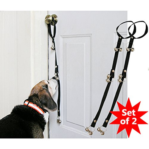 Evelots Dog Potty Training Doorbells Puppy Bathroom Trainer Bells Set Of 2 Black Dog Potty