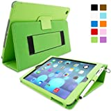 SnuggTM iPad Air (iPad 5) Case - Smart Cover with Flip Stand & Lifetime Guarantee (Green Leather) for Apple iPad Air (2013)