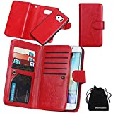 For Samsung Galaxy S6 Edge Case, DRUnKQUEEn® Card Holder Case S6Edge Wallet Leather Flip Case - Detachable Magnetic Hard Back Cover with Lanyard Wrist Strap