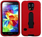 myLife (TM) Bright Red and Dark Raven Black - Shock Suit Survivor Series (Built in Kickstand + Easy Grip Silicone) 3 Piece + 2 Layer Case for NEW Galaxy S5 (5g) Smartphone By Samsung (External Flex Silicone Bumper Gel + Internal 2 Piece Rubberized Snap Fitted Armor Protector + Shock Absorbing Material)