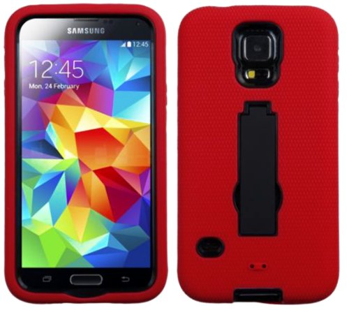 Mylife (Tm) Bright Red And Dark Raven Black - Shock Suit Survivor Series (Built In Kickstand + Easy Grip Silicone) 3 Piece + 2 Layer Case For New Galaxy S5 (5G) Smartphone By Samsung (External Flex Silicone Bumper Gel + Internal 2 Piece Rubberized Snap Fi front-349018