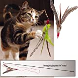 Da Bird Go Cat Rod and Feather Cat Toys, Assorted Colors