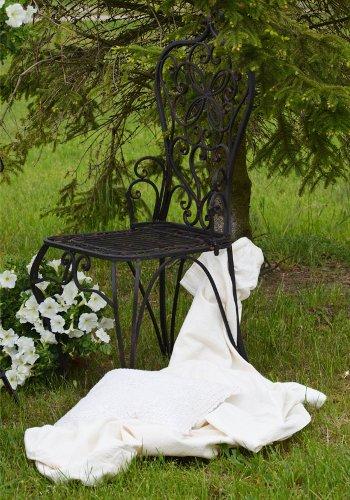 Gartenstuhl-Metall-Vintage-Retro-Landhaus-Antik-Braun-Gartensessel-Eleganz