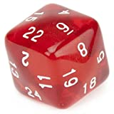 24 Sided Translucent Red D24 with White Numbers by Wiz Dice