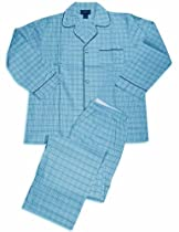 Botony 500 - Mens Long Sleeve Plaid Pajamas, Mint Blue 31688-Medium