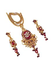 CS Unique Kundan Meena  Polkli Fusion Red Pendant Set For Women