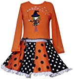 Rare Editions Halloween Witch Dress, Orange,6X