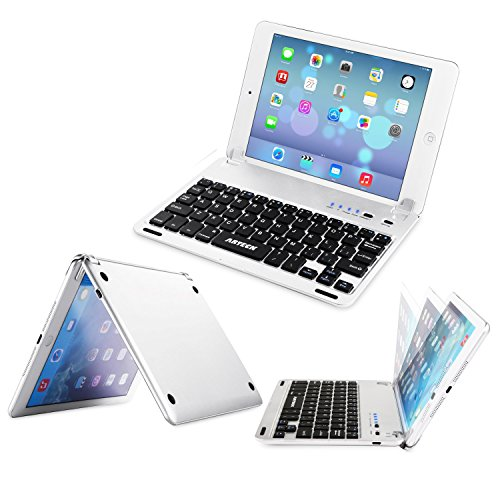 Click to buy Arteck Ultra-Thin Apple iPad Mini Wireless Bluetooth Keyboard Folio Case Cover with Built-In Stand Groove for Apple iPad Mini 3/2/1 iPad Mini with Retina Display with 130 Degree Swivel Rotating-Silver - From only $23.97