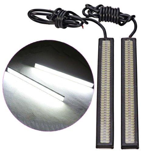 17Cm 6W Smd 2014 64-Led Waterproof White Light Car Daytime Running Light Strips - Black (Dc 12V / Pair)